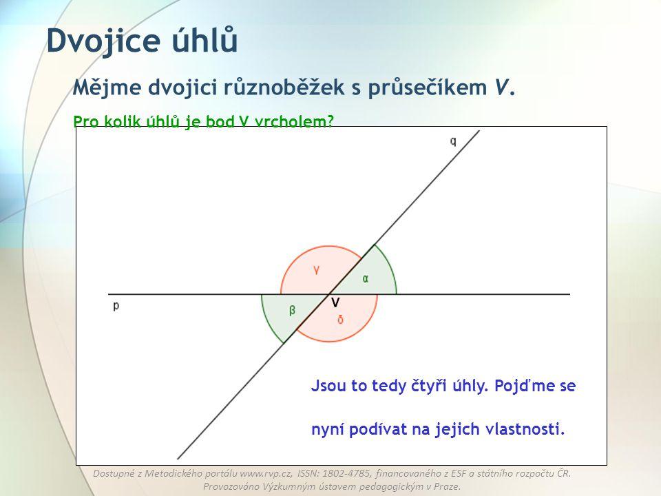 Dvojice úhlů Mějme dvojici různoběžek s průsečíkem V.