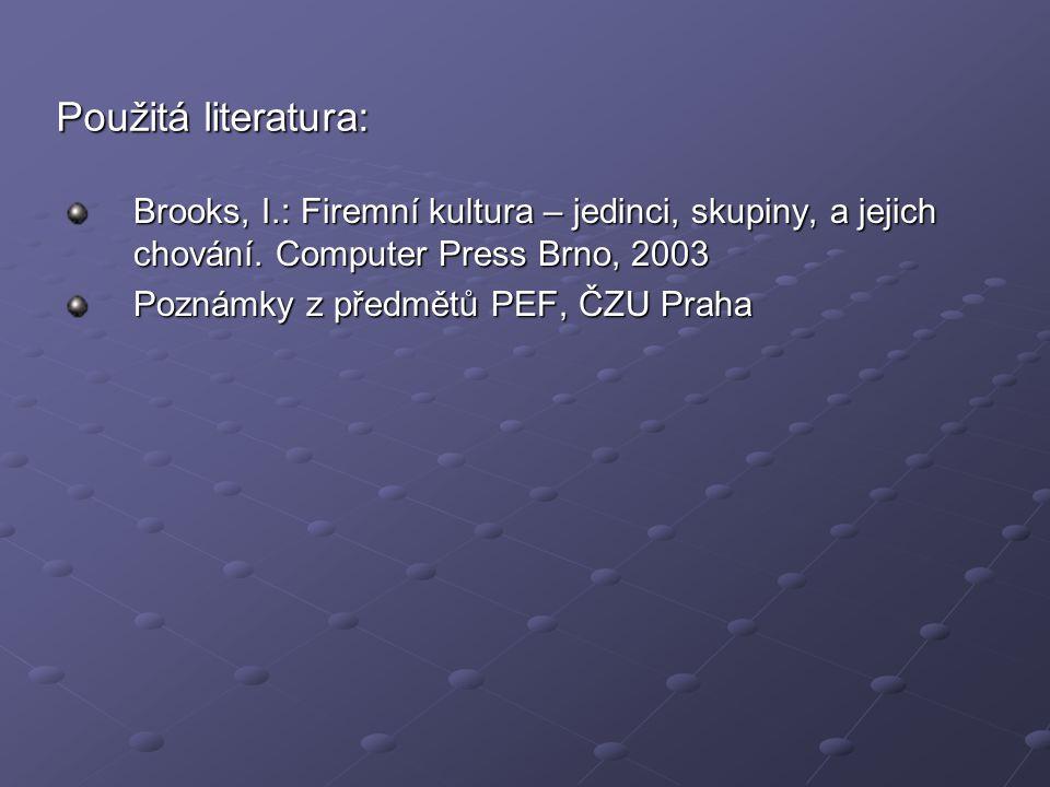 Použitá literatura: Brooks, I.: Firemní kultura – jedinci, skupiny, a jejich chování. Computer Press Brno, 2003.