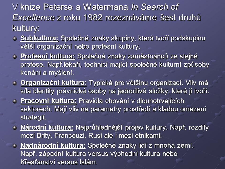 V knize Peterse a Watermana In Search of Excellence z roku 1982 rozeznáváme šest druhů kultury: