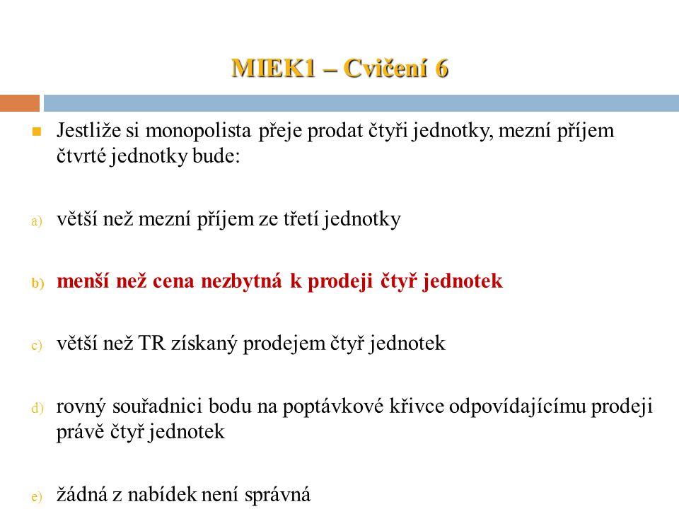 MIEK1 – Cvičení 6 Jestliže si monopolista přeje prodat čtyři jednotky, mezní příjem čtvrté jednotky bude: