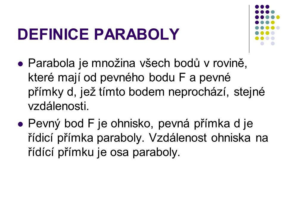 DEFINICE PARABOLY