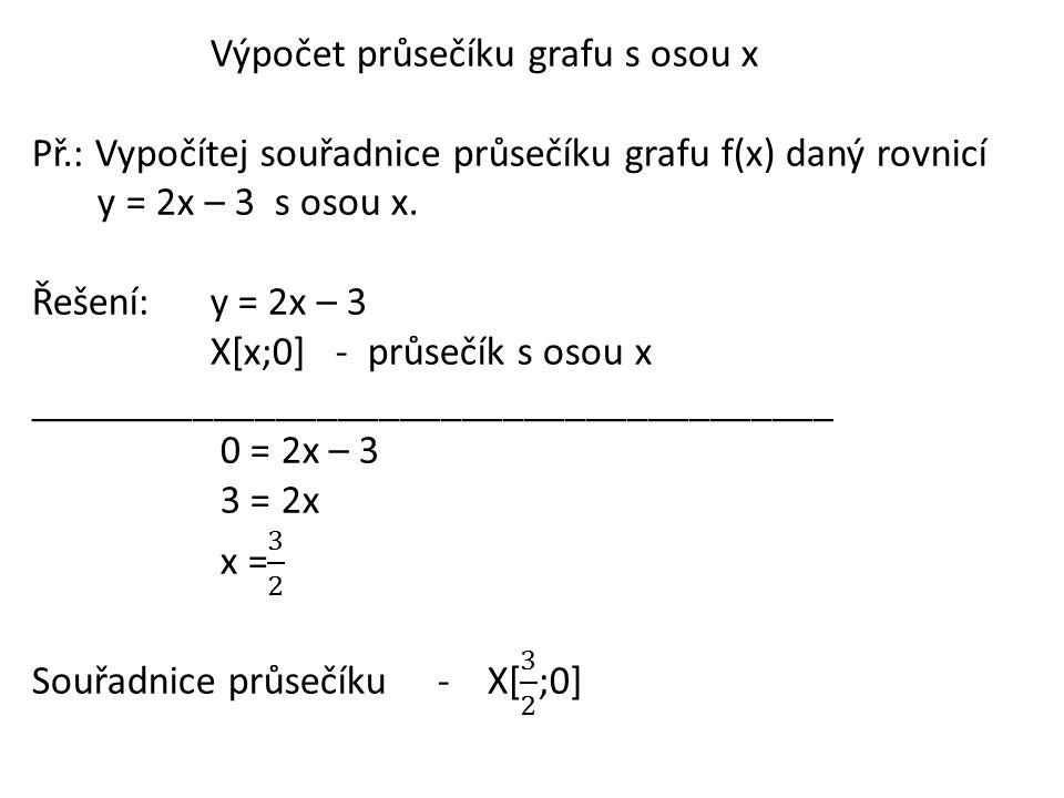 Výpočet průsečíku grafu s osou x