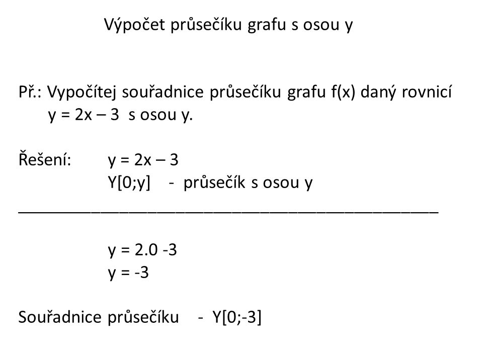 Výpočet průsečíku grafu s osou y