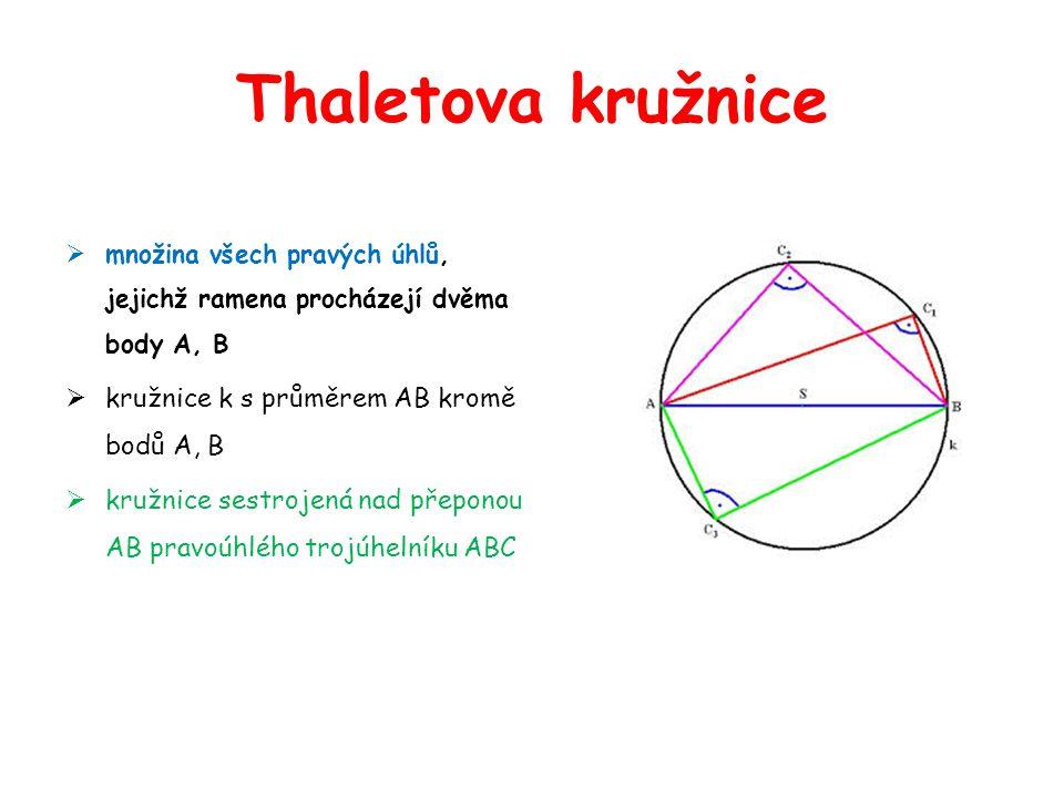 Thaletova kružnice kružnice k s průměrem AB kromě bodů A, B