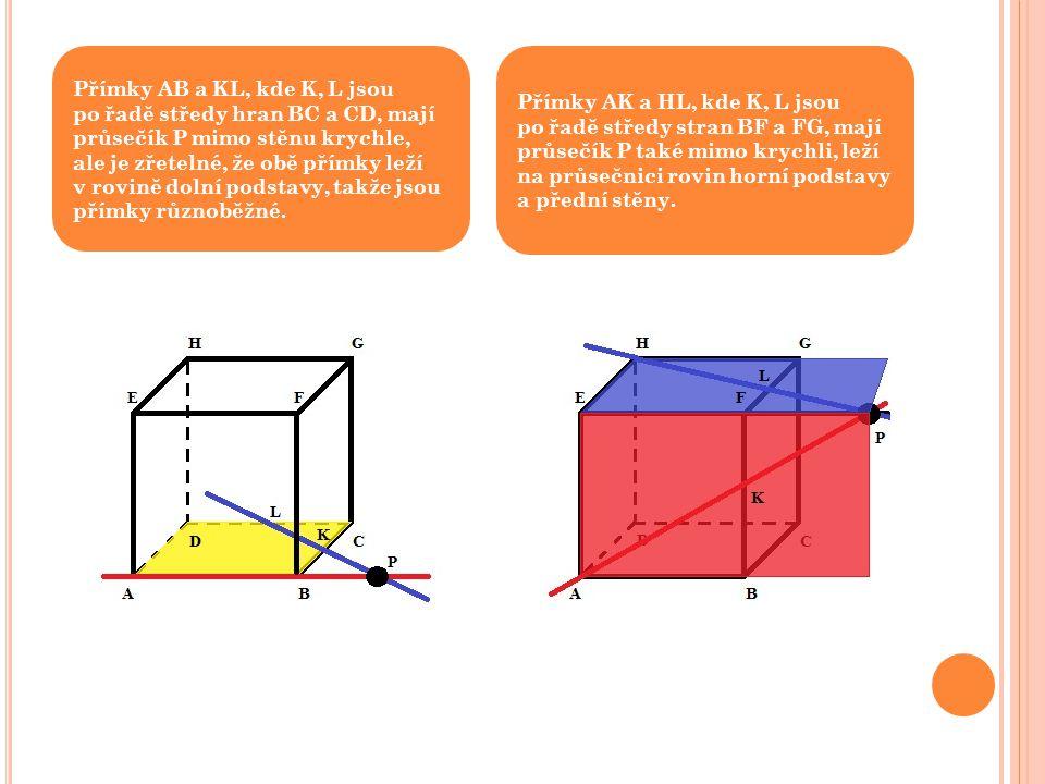 Přímky AB a KL, kde K, L jsou po řadě středy hran BC a CD, mají průsečík P mimo stěnu krychle, ale je zřetelné, že obě přímky leží v rovině dolní podstavy, takže jsou přímky různoběžné.