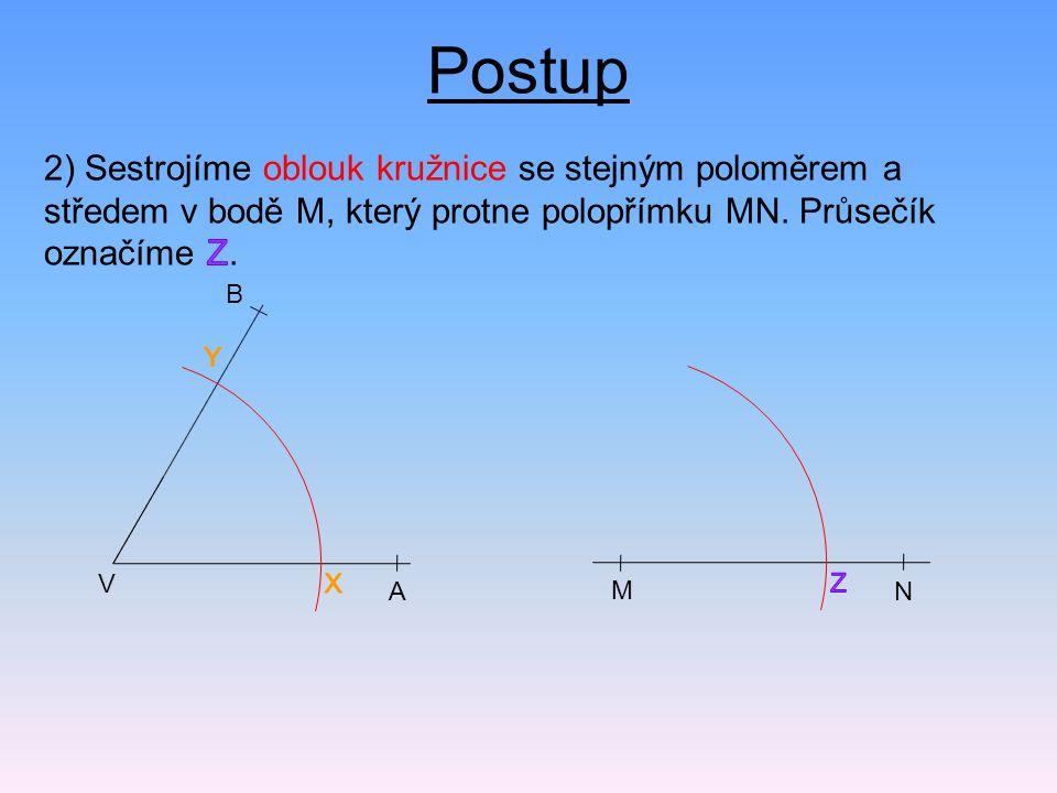 Postup 2) Sestrojíme oblouk kružnice se stejným poloměrem a středem v bodě M, který protne polopřímku MN. Průsečík označíme Z.