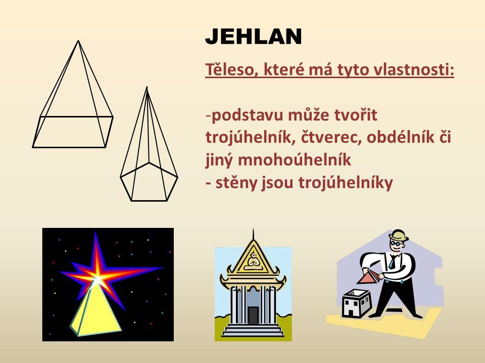 JEHLAN Těleso, které má tyto vlastnosti: