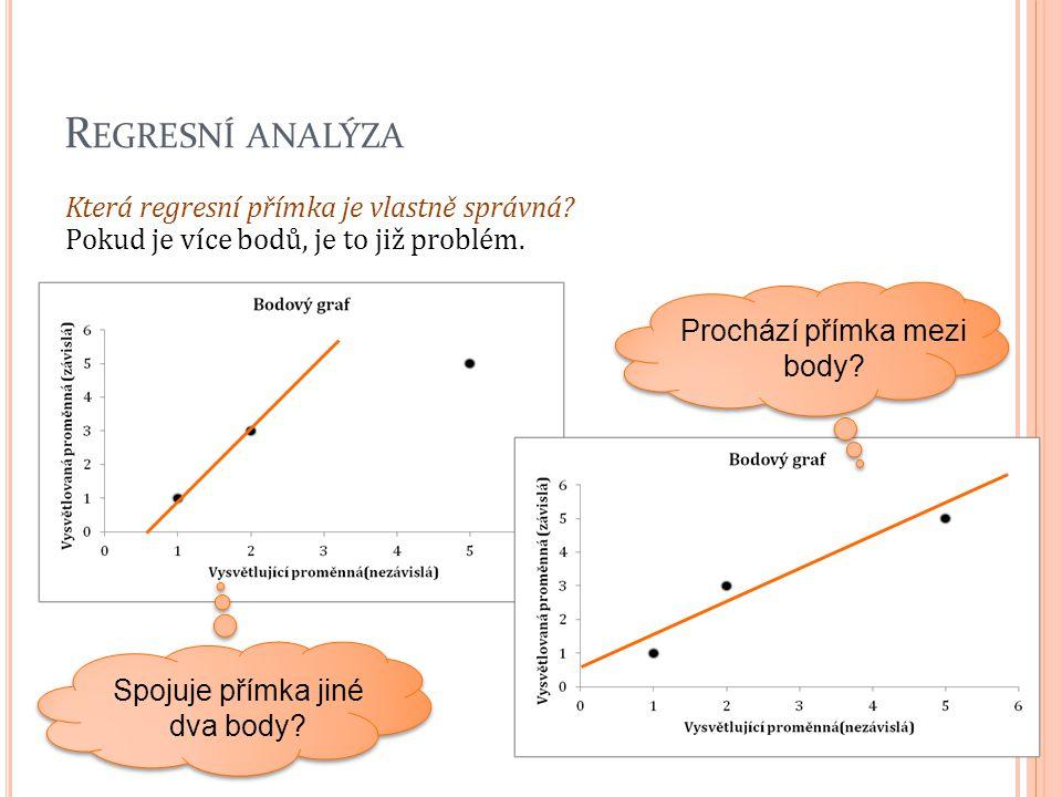Regresní analýza Která regresní přímka je vlastně správná Pokud je více bodů, je to již problém. Prochází přímka mezi body