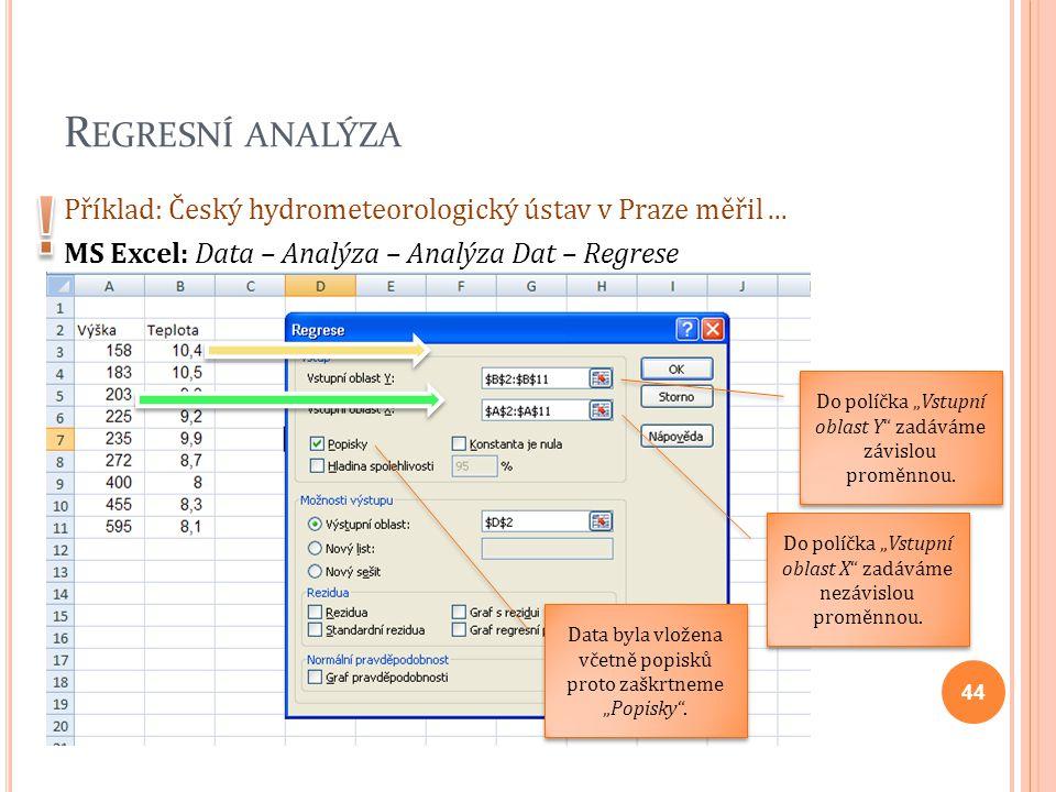 Regresní analýza ! Příklad: Český hydrometeorologický ústav v Praze měřil ... MS Excel: Data – Analýza – Analýza Dat – Regrese