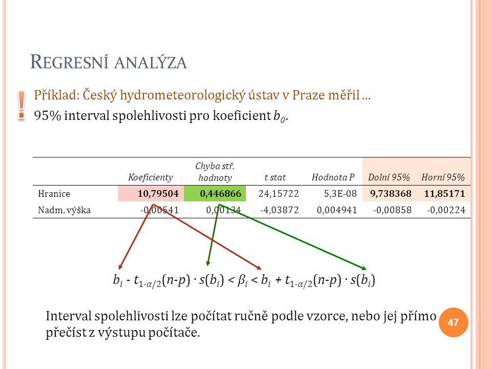 bi - t1-α/2(n-p) · s(bi) < βi < bi + t1-α/2(n-p) · s(bi)