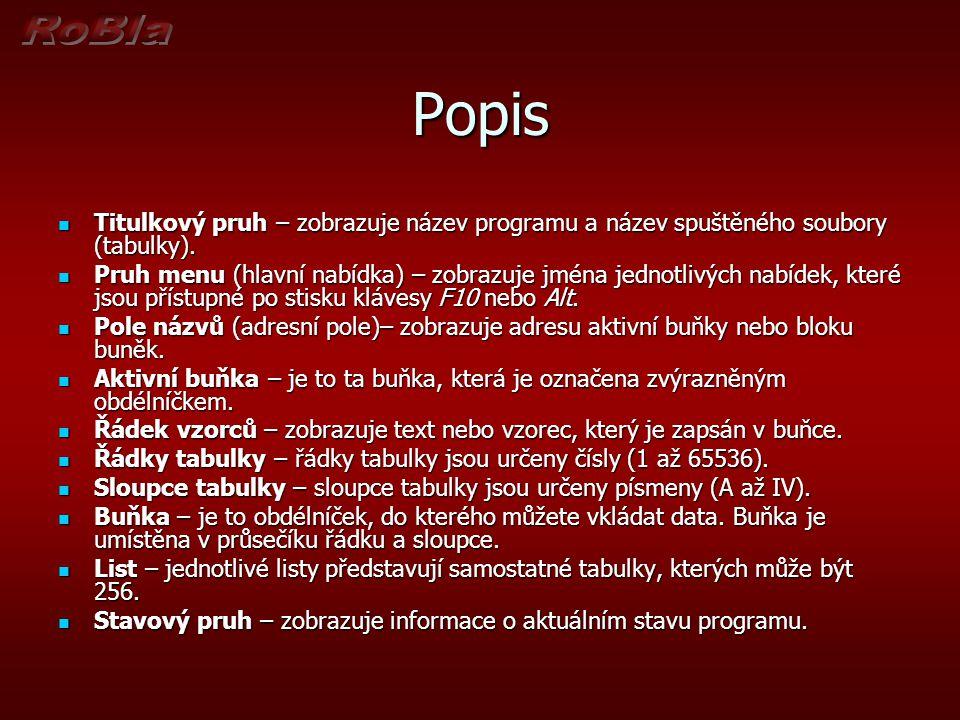 Popis Titulkový pruh – zobrazuje název programu a název spuštěného soubory (tabulky).