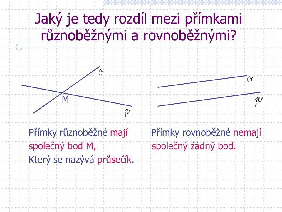 Jaký je tedy rozdíl mezi přímkami různoběžnými a rovnoběžnými