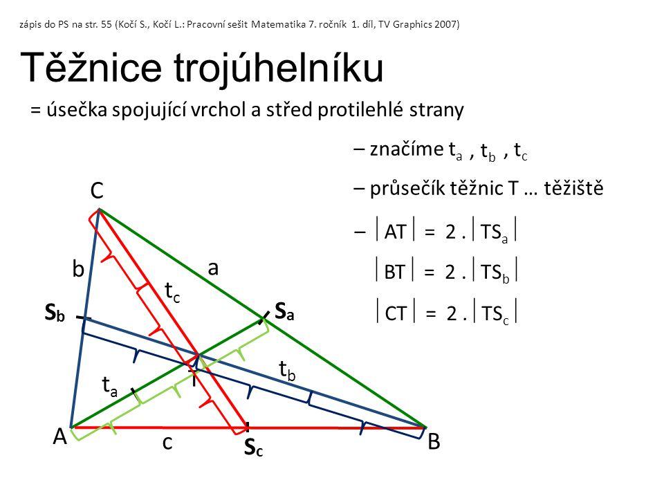 Těžnice trojúhelníku C b a tc Sb Sa tb T ta A c B Sc