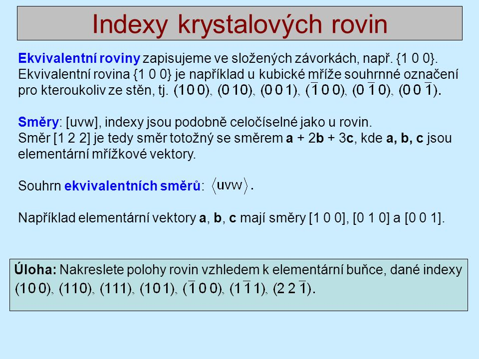 Indexy krystalových rovin