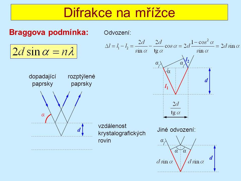 Difrakce na mřížce Braggova podmínka: Odvození: l2 α α α