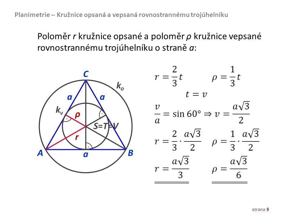 Planimetrie – Kružnice opsaná a vepsaná rovnostrannému trojúhelníku