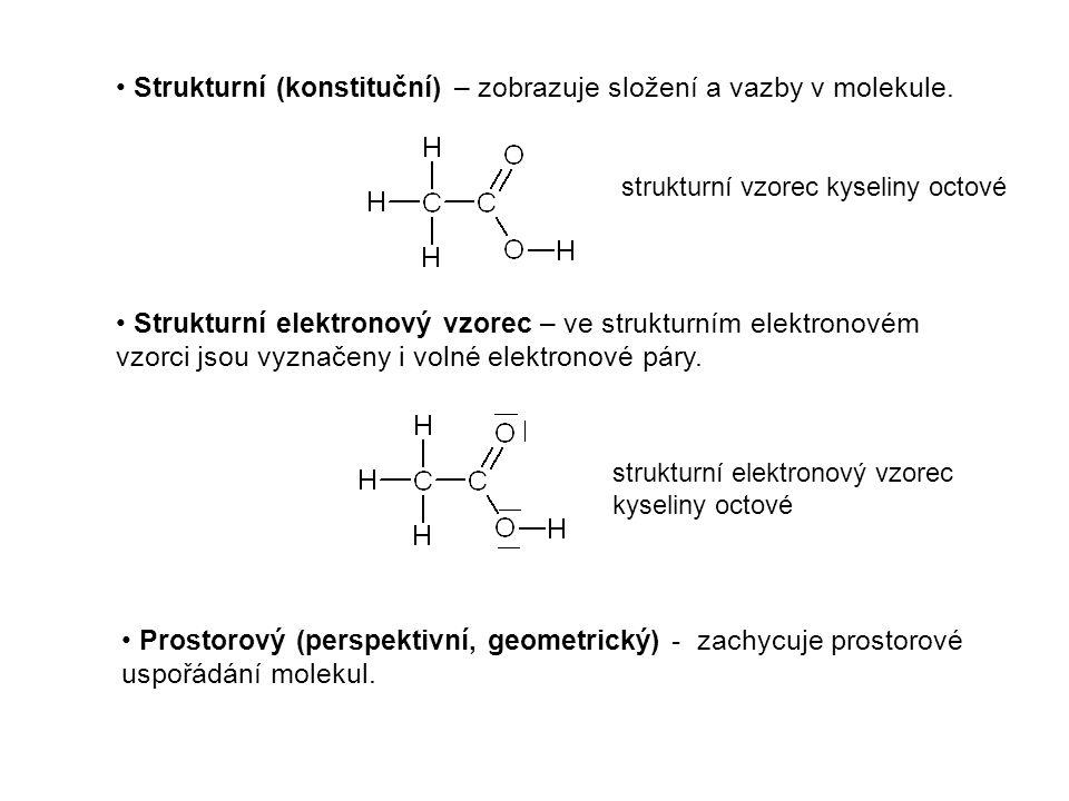 Strukturní (konstituční) – zobrazuje složení a vazby v molekule.