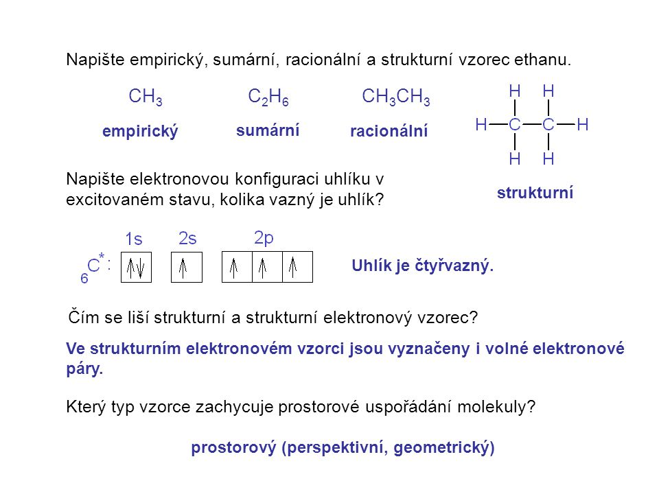 Napište empirický, sumární, racionální a strukturní vzorec ethanu.