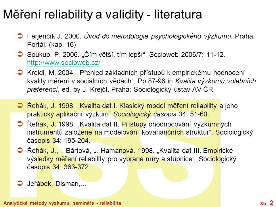 Měření reliability a validity - literatura