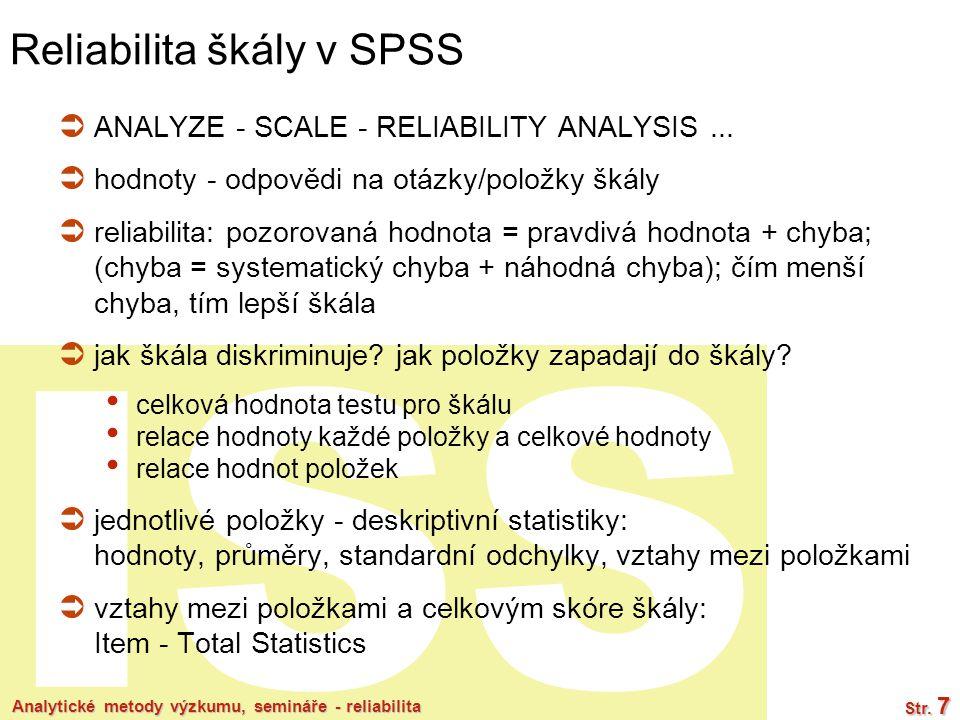 Reliabilita škály v SPSS