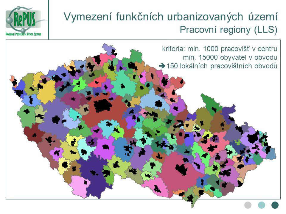 Vymezení funkčních urbanizovaných území Pracovní regiony (LLS)