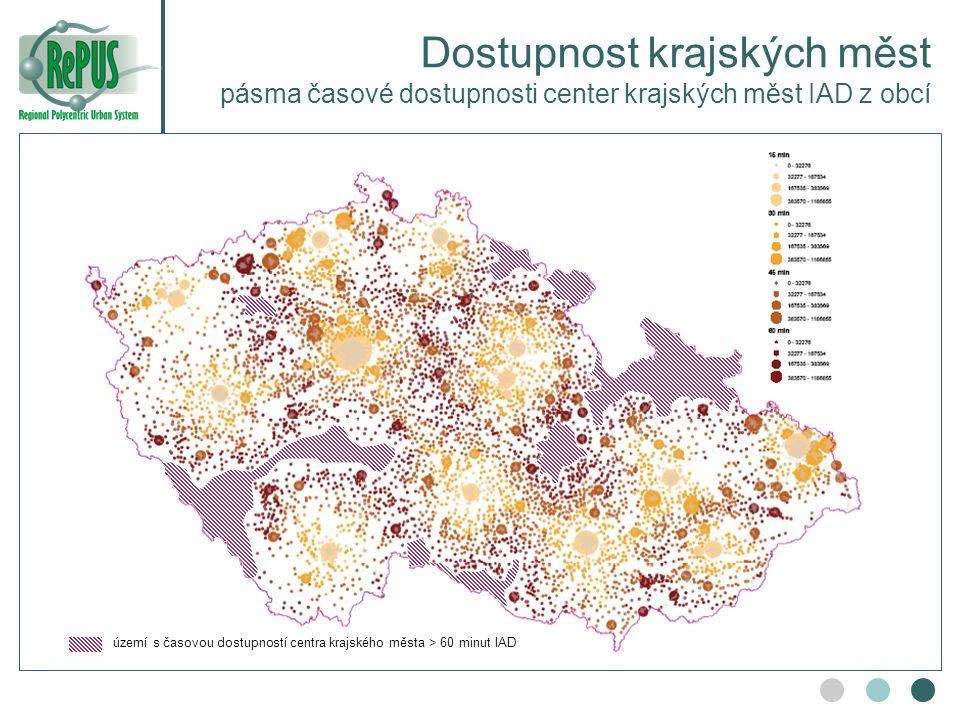 Dostupnost krajských měst pásma časové dostupnosti center krajských měst IAD z obcí