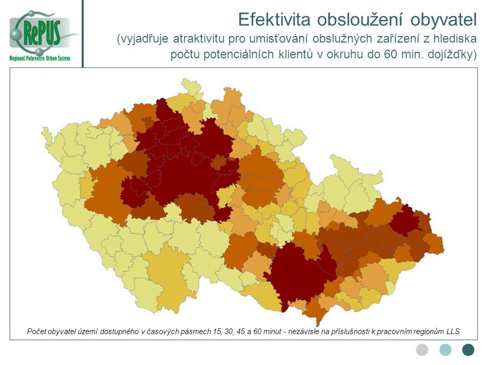 Efektivita obsloužení obyvatel (vyjadřuje atraktivitu pro umisťování obslužných zařízení z hlediska počtu potenciálních klientů v okruhu do 60 min. dojížďky)