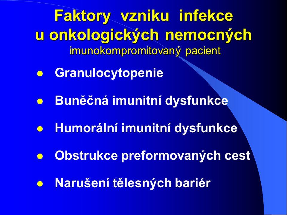 Faktory vzniku infekce u onkologických nemocných imunokompromitovaný pacient