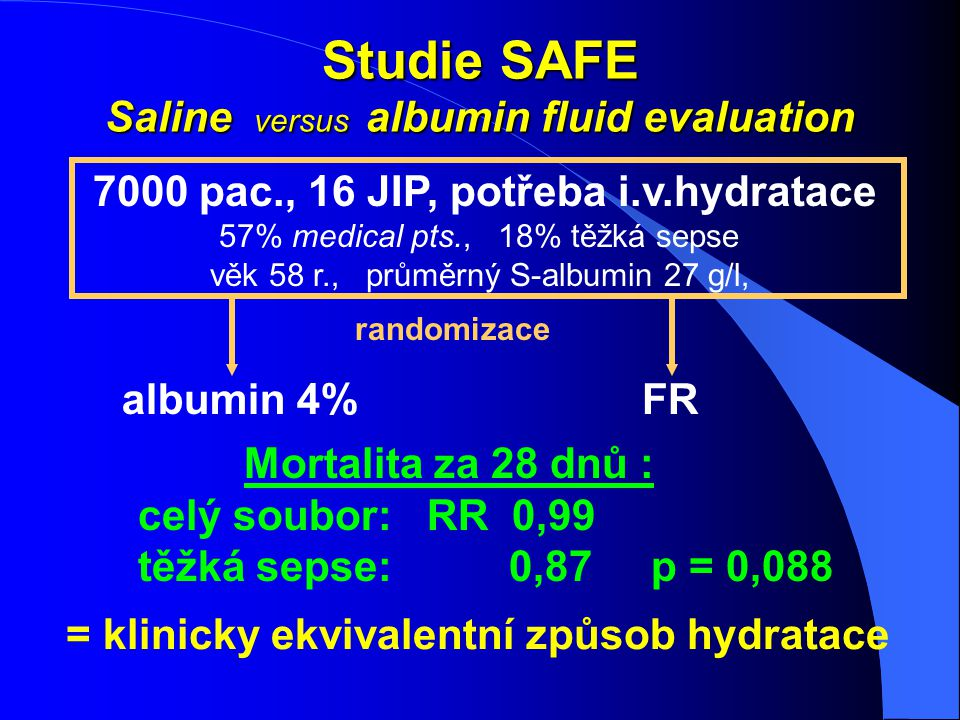 Studie SAFE Saline versus albumin fluid evaluation