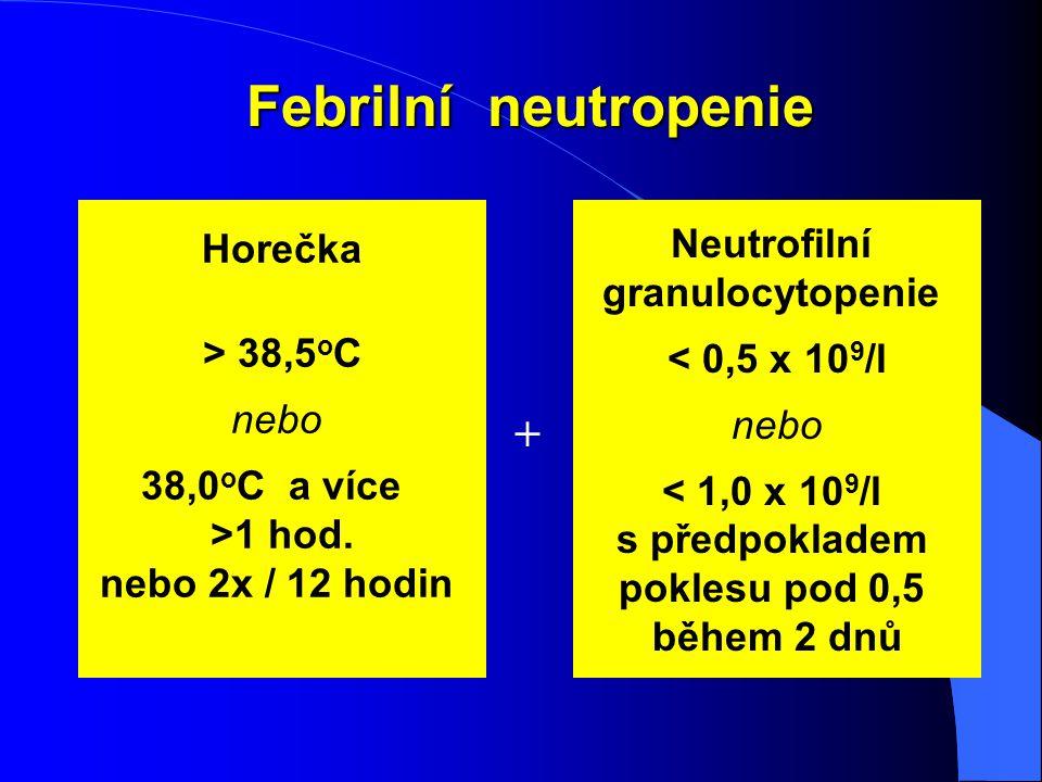 Febrilní neutropenie + Horečka Neutrofilní granulocytopenie
