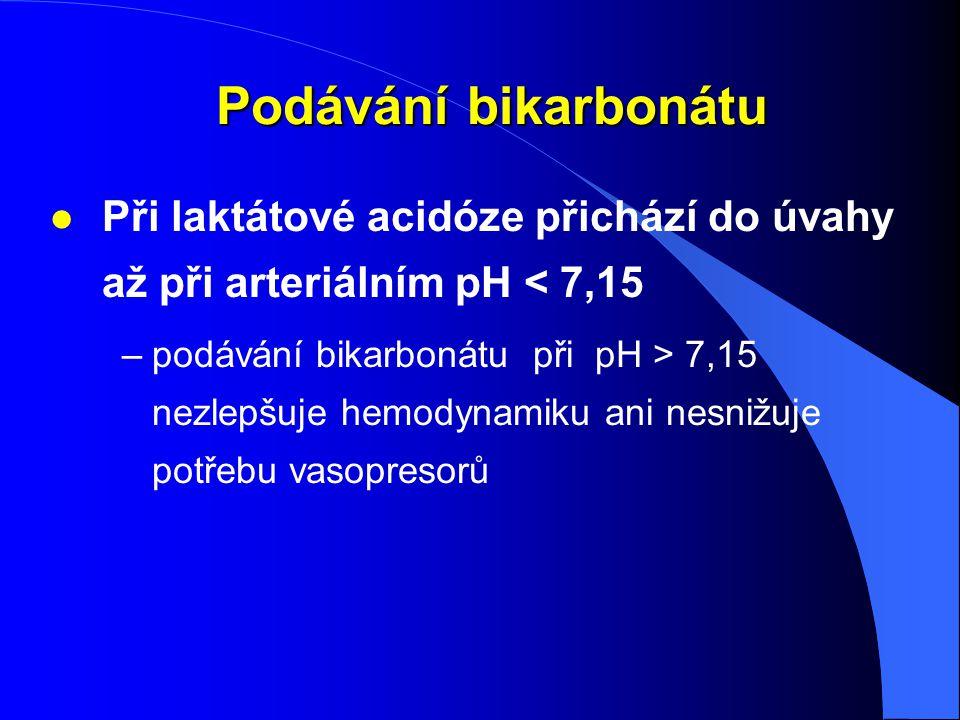 Podávání bikarbonátu Při laktátové acidóze přichází do úvahy až při arteriálním pH < 7,15.