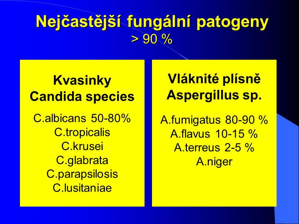 Nejčastější fungální patogeny > 90 %