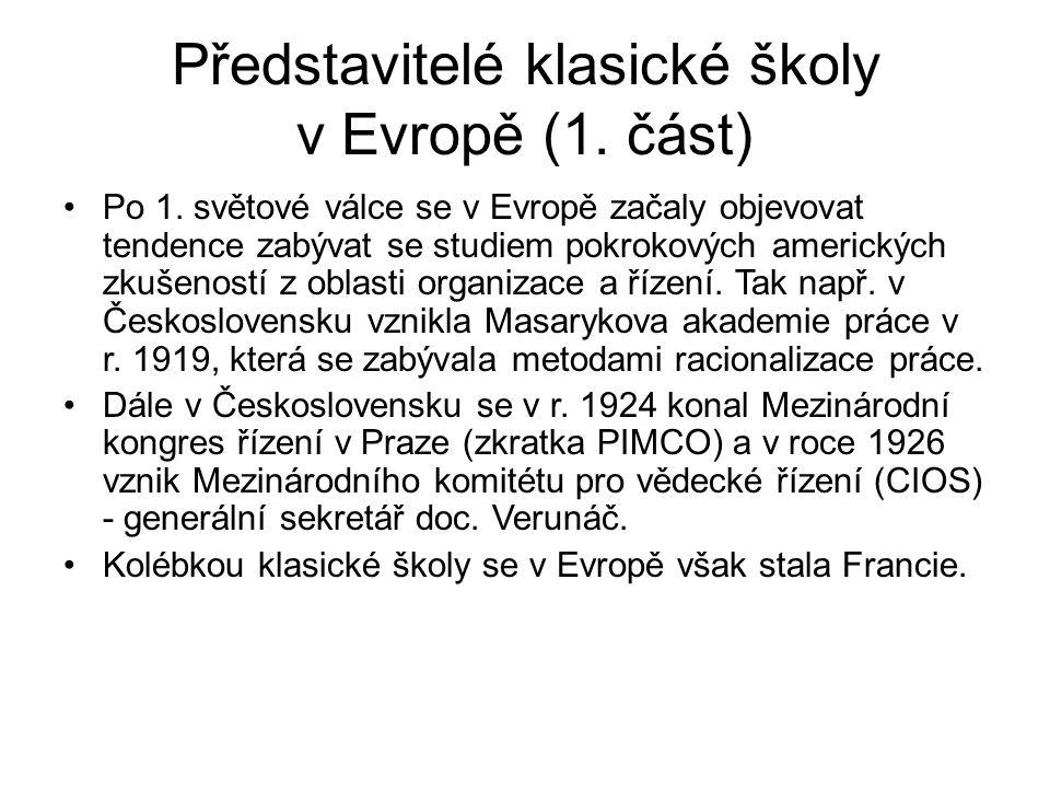Představitelé klasické školy v Evropě (1. část)
