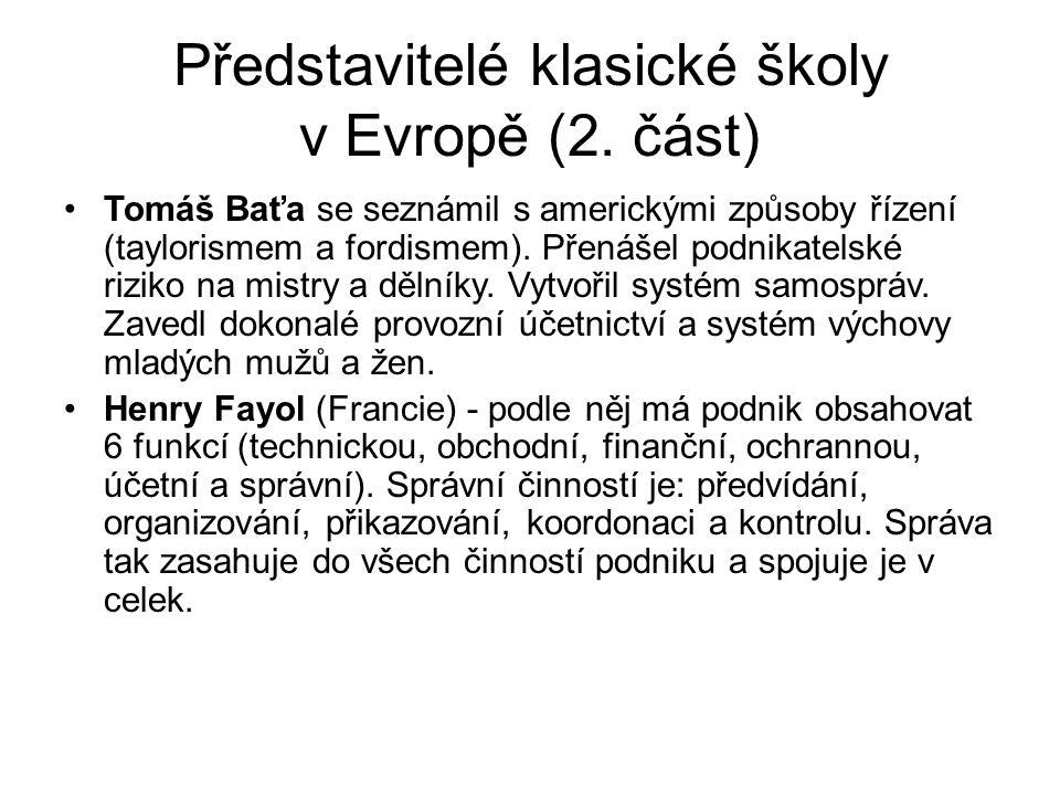 Představitelé klasické školy v Evropě (2. část)