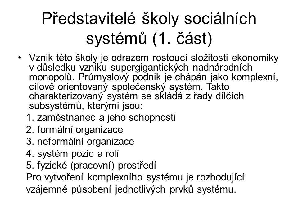 Představitelé školy sociálních systémů (1. část)