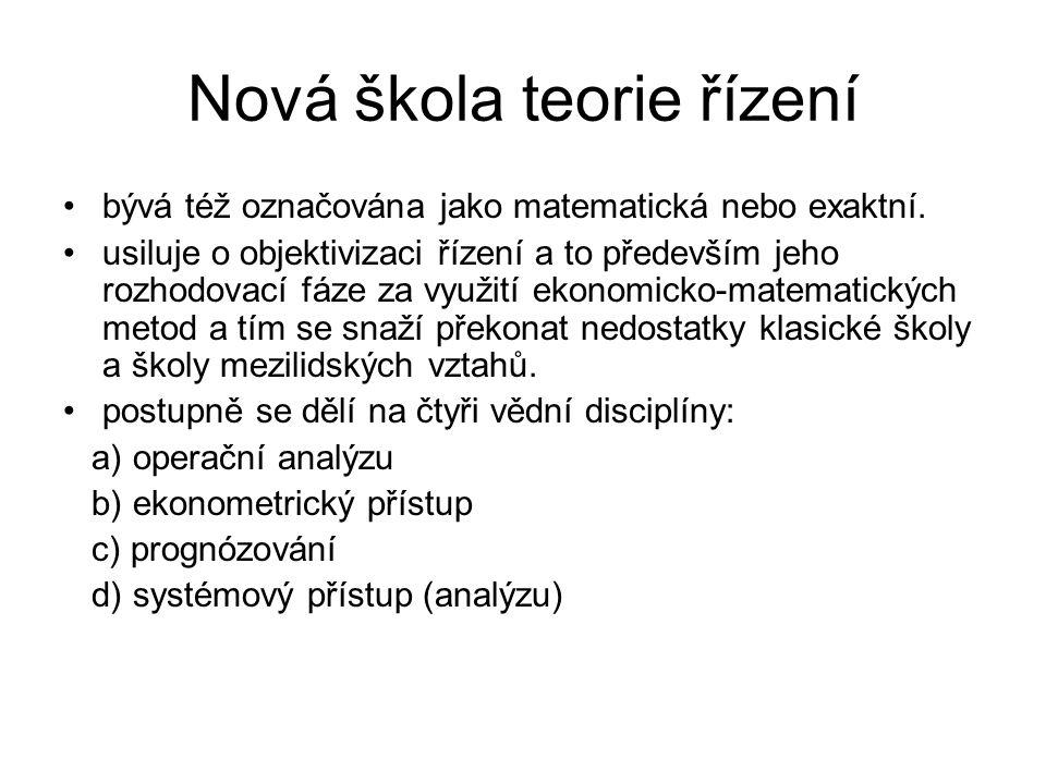 Nová škola teorie řízení
