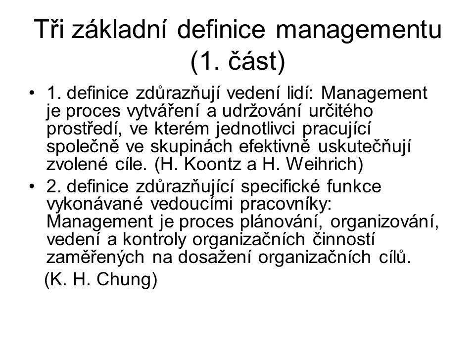 Tři základní definice managementu (1. část)