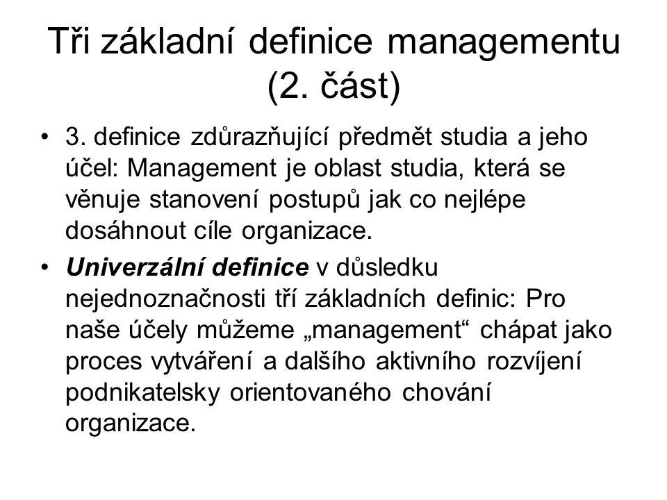 Tři základní definice managementu (2. část)