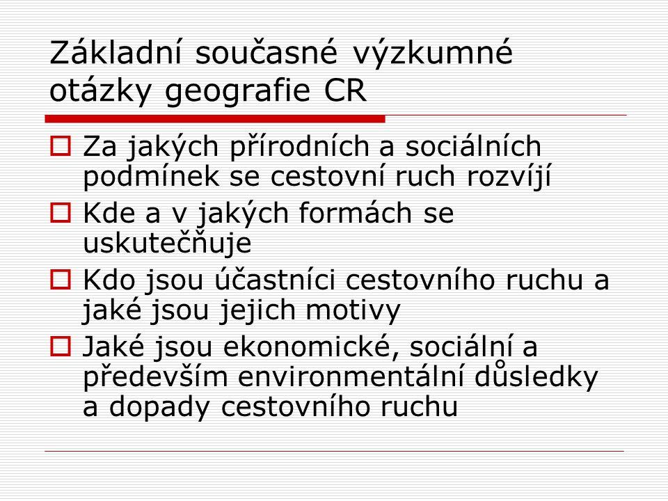 Základní současné výzkumné otázky geografie CR