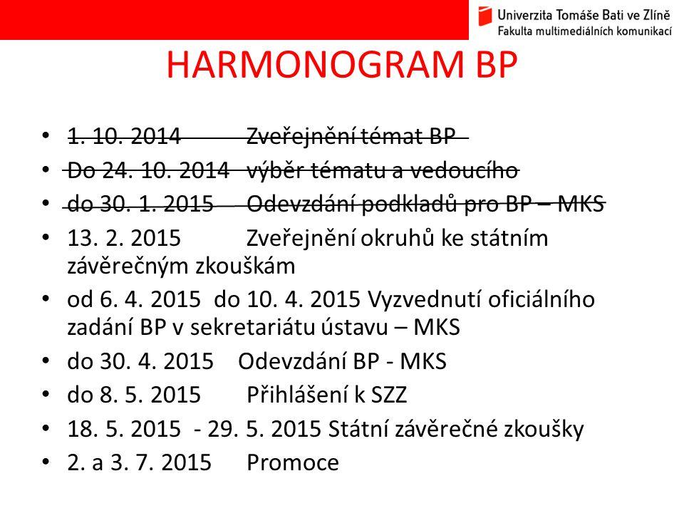 HARMONOGRAM BP 1. 10. 2014 Zveřejnění témat BP