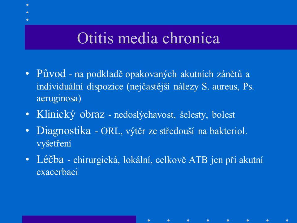 Otitis media chronica Původ - na podkladě opakovaných akutních zánětů a individuální dispozice (nejčastější nálezy S. aureus, Ps. aeruginosa)