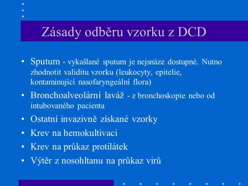 Zásady odběru vzorku z DCD