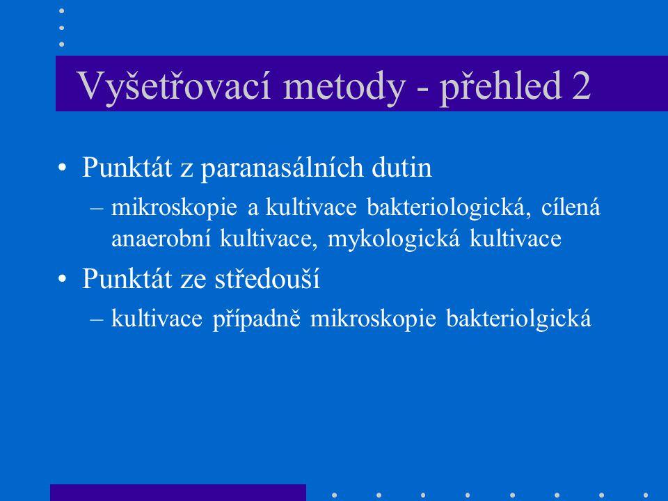 Vyšetřovací metody - přehled 2