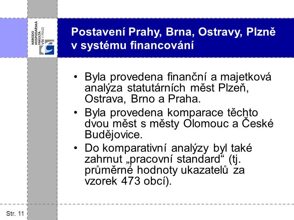 Postavení Prahy, Brna, Ostravy, Plzně v systému financování