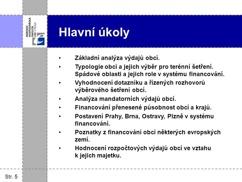 Hlavní úkoly Základní analýza výdajů obcí.