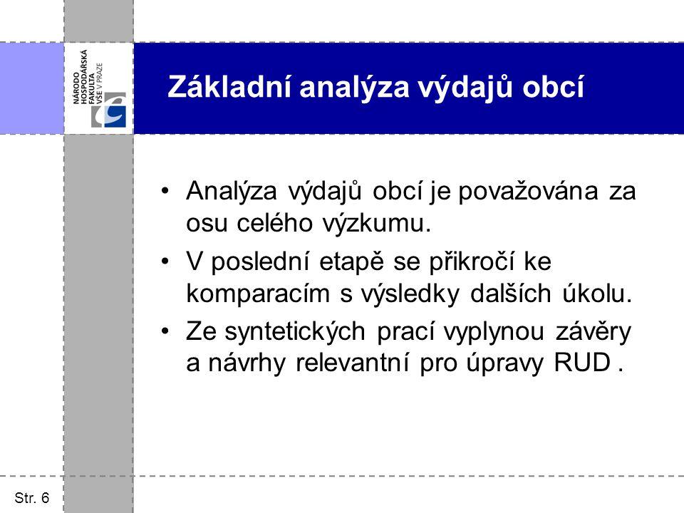 Základní analýza výdajů obcí