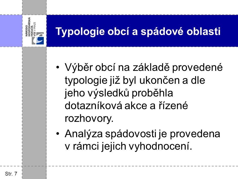 Typologie obcí a spádové oblasti