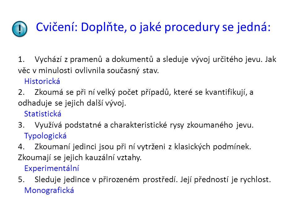 Cvičení: Doplňte, o jaké procedury se jedná: