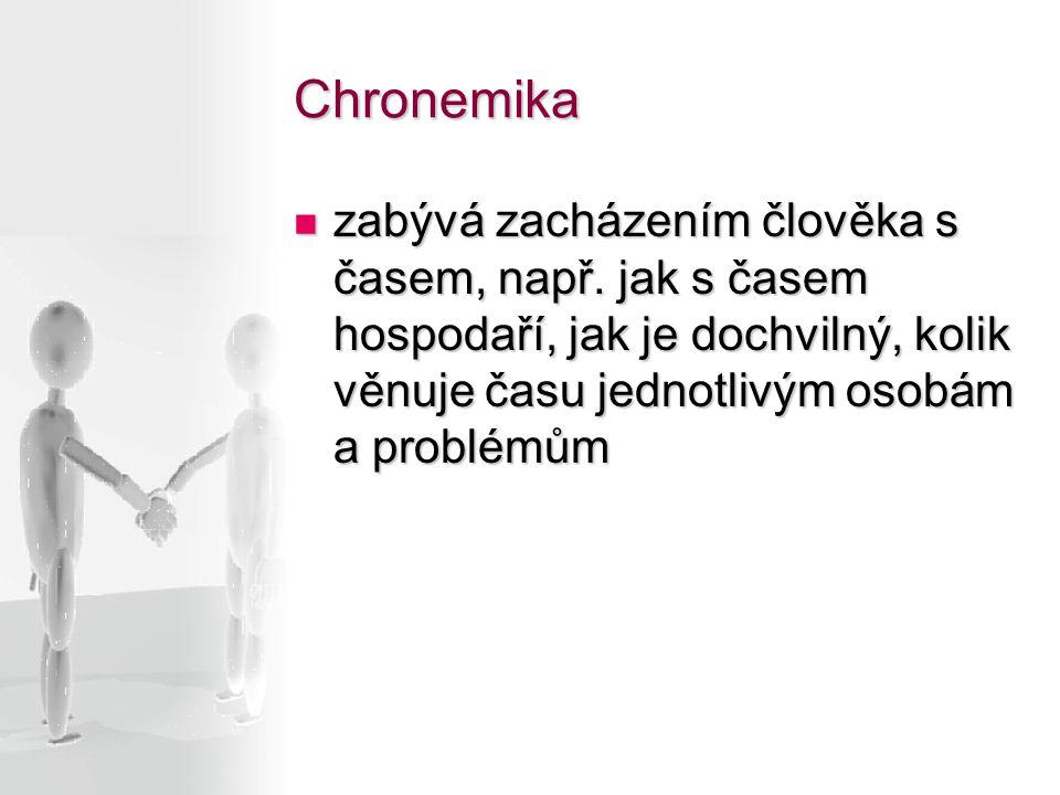 Chronemika zabývá zacházením člověka s časem, např.