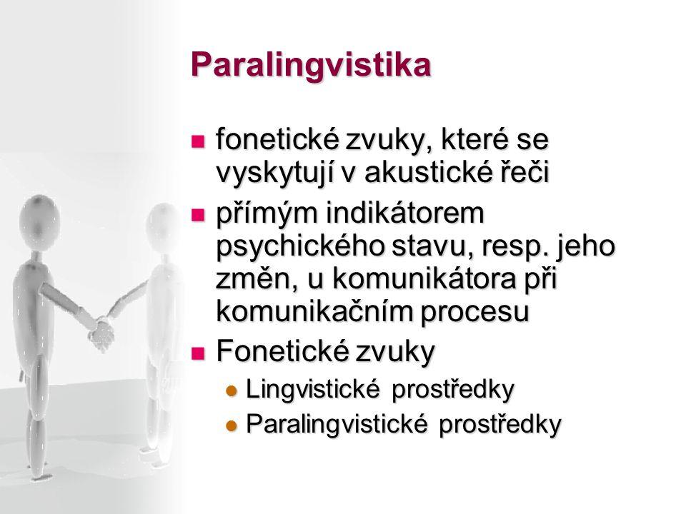 Paralingvistika fonetické zvuky, které se vyskytují v akustické řeči